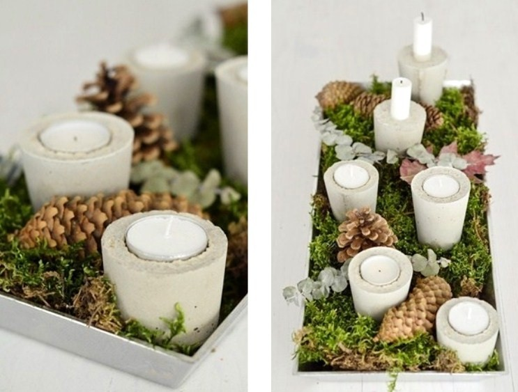 Make your own contemporary concrete candle holders for How to make christmas candle holders