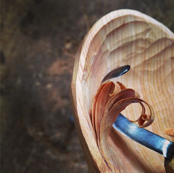 Spoon carving by Hatchet and Bear Decorator's Notebook