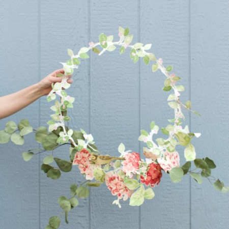 wreath-made-from-greenery-and-wallpaper