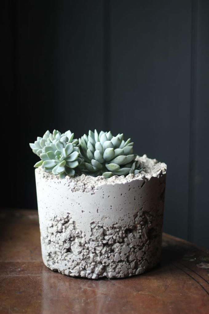 diy concrete planters decorator 39 s notebook. Black Bedroom Furniture Sets. Home Design Ideas