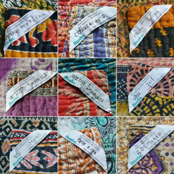 Basha name labels on Decorator's Notebook kantha quilts