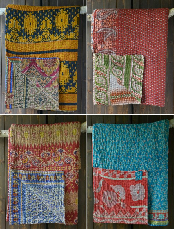 Kantha quilts made from vintage sari cotton from Decorator's Notebook UK