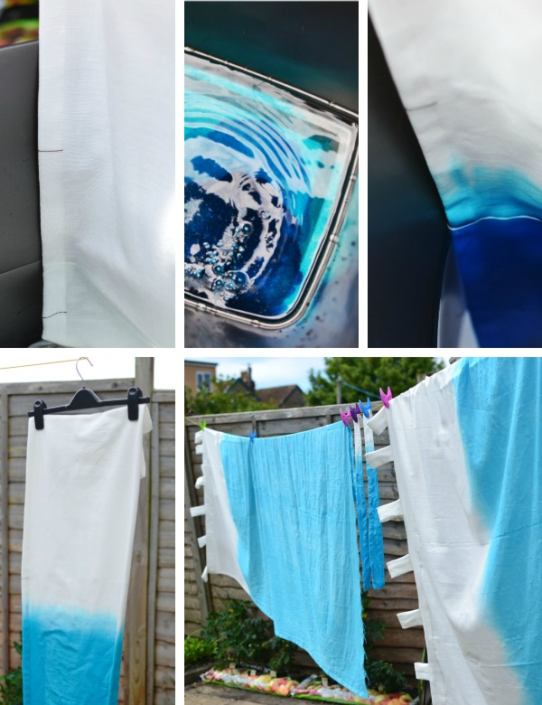 How Dip Dye curtains ombre tutorial
