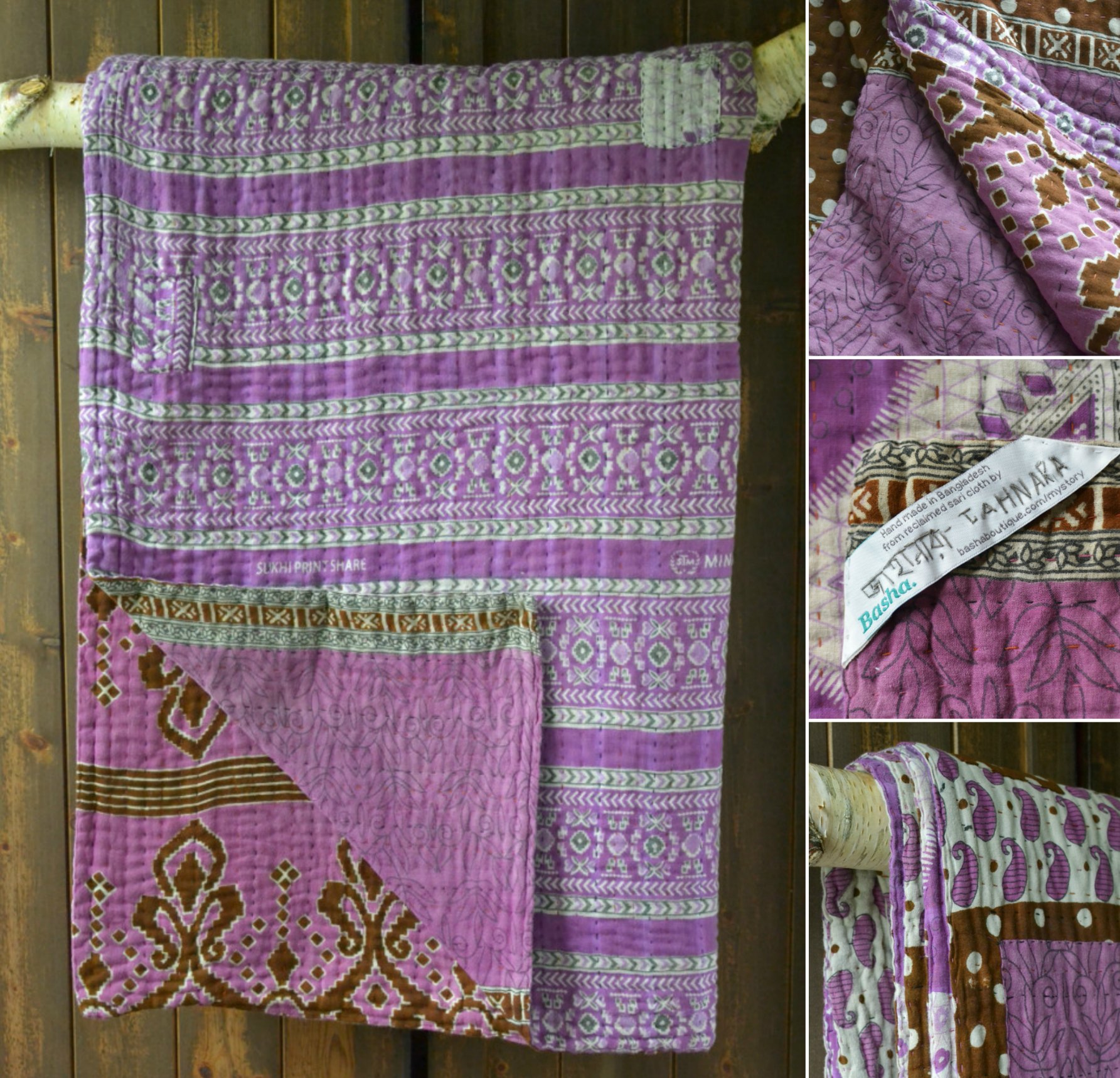Lilac kantha quilt Decorator's Notebook fair trade Shop