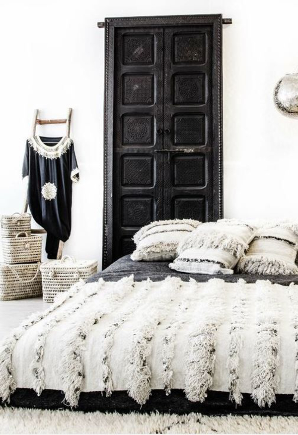 Moroccan bedroom with handira bedspread