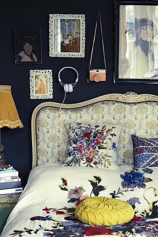 Vintage boho bedroom with dark wall