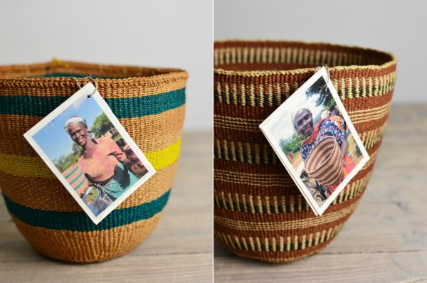 Kenyan baskets from Decorator's Notebook with maker photo name labels