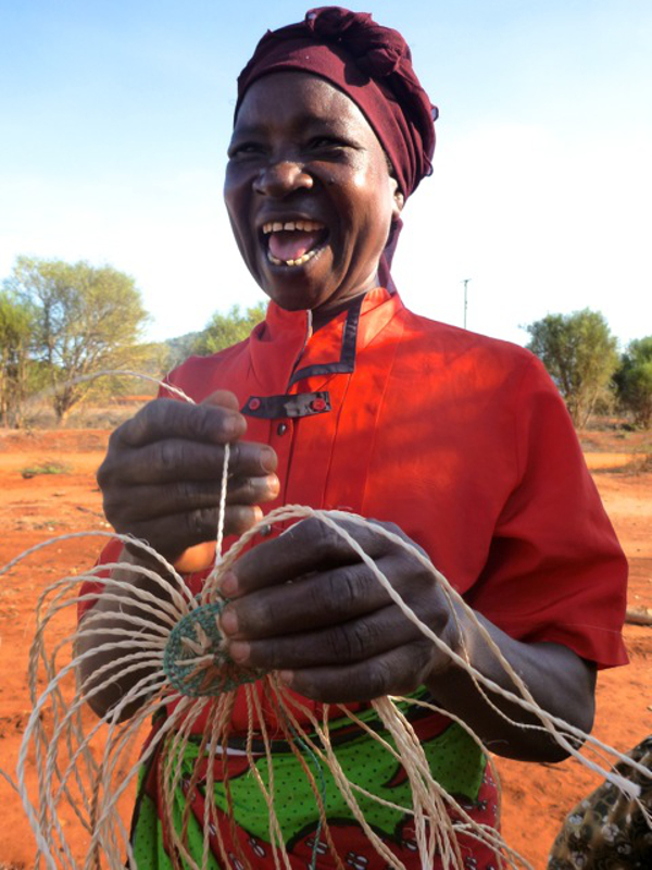 Starting weaving a Kenyan basket for Decorator's Notebook