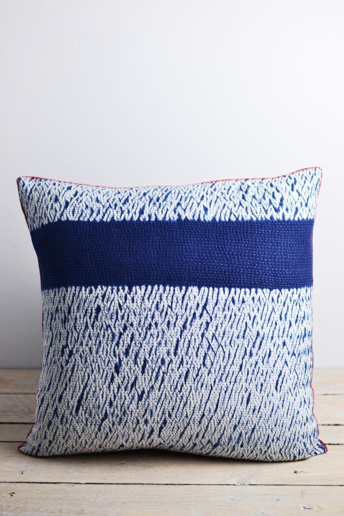 Indigo shibori cushion horizon Decorator's Notebook shop