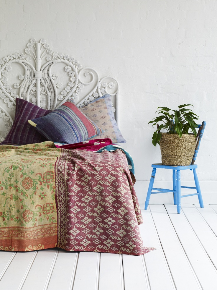 Gallery: kantha quilts in the home - Decorator's Notebook : kantha quilts for sale - Adamdwight.com