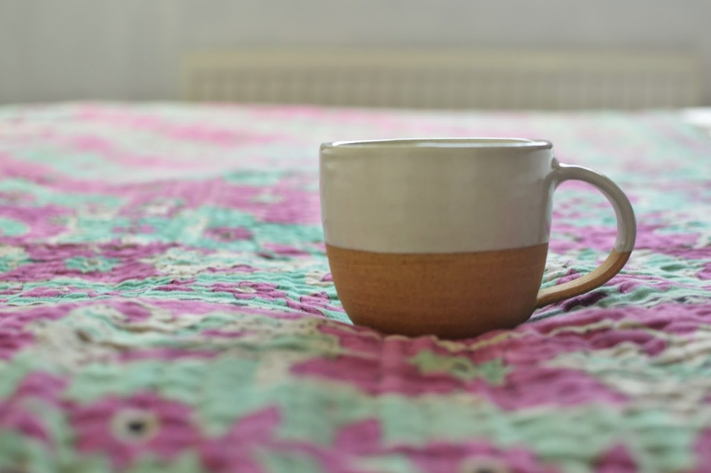 Decorator's Notebook terracotta mug and kantha in the home of Jen Little Birdie blog