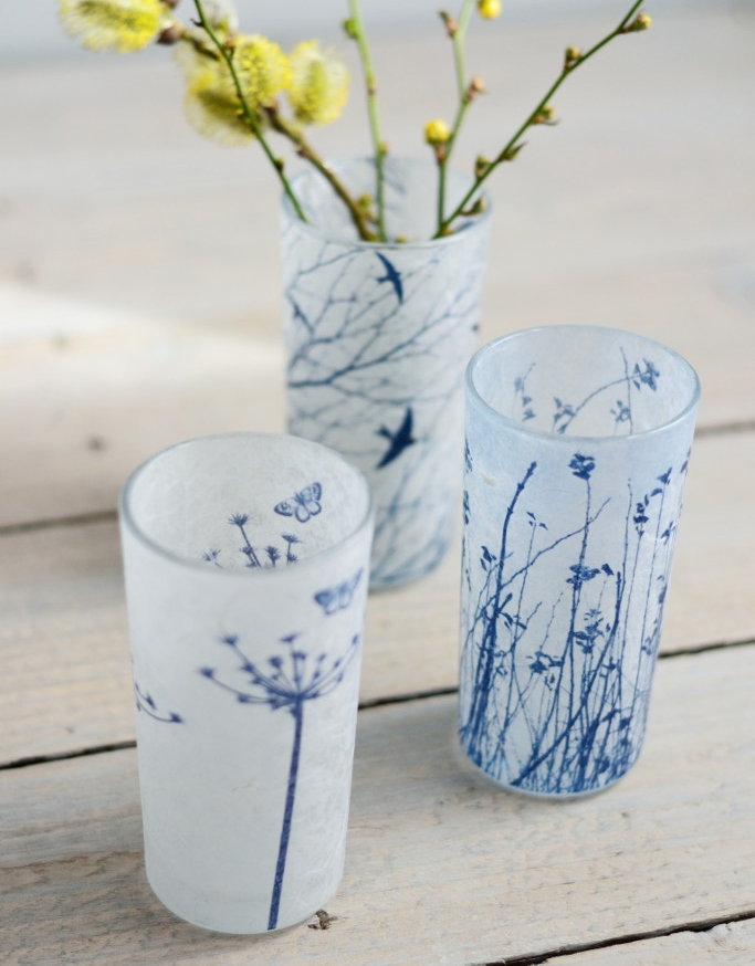 Decorator's Notebook Cyanotype_blue_white_glass_flower_vases