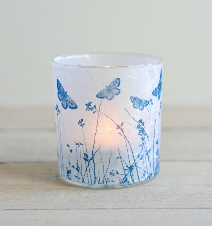 Decorator's Notebook Cyanotype_blue_white_glass_tea_light_holder_butterfly