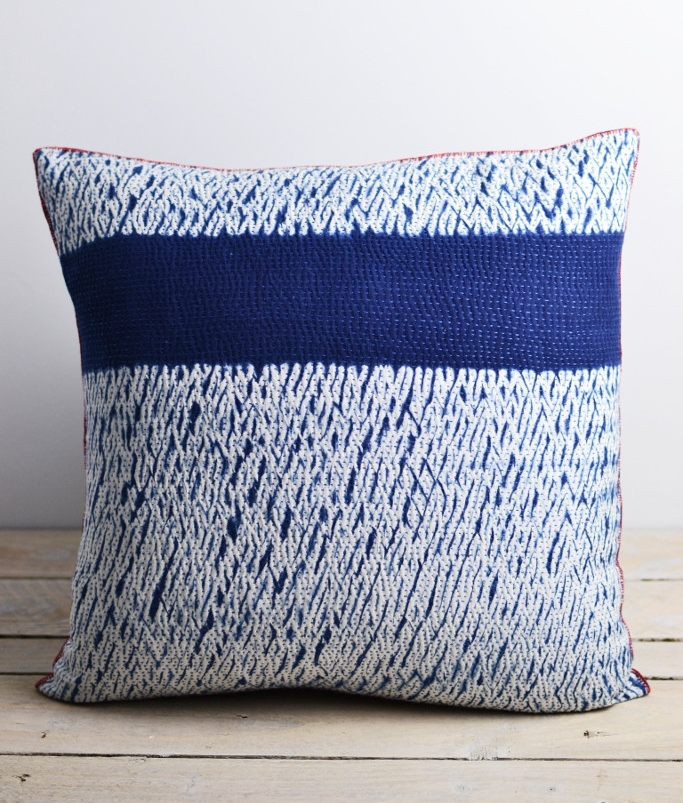 Decorator's Notebook Indigo_shibori_dyed_cushion_stripe