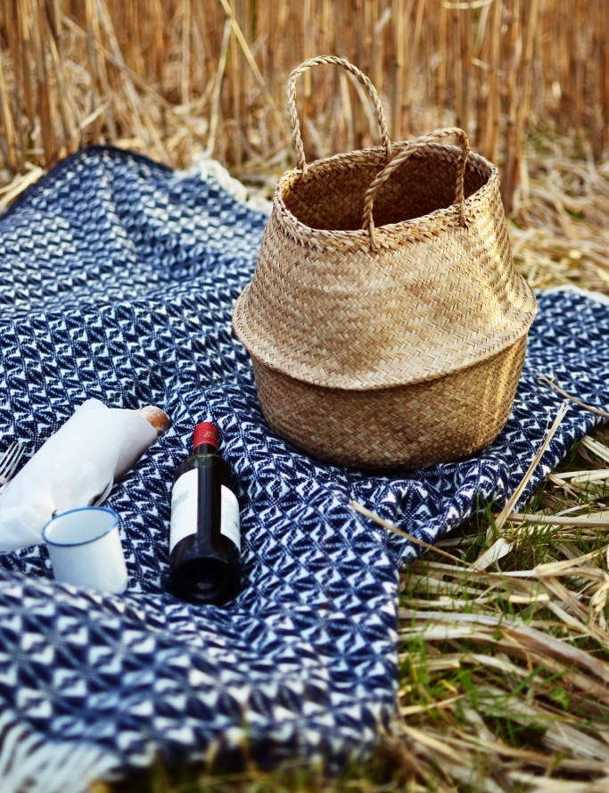 Decorator's Notebook blue_woven_picnic_blanket