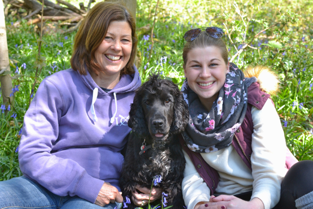 Kimba the hearing dog with socialisers Bridget and Bethan