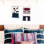 Bedroom with indigo shibori cushions