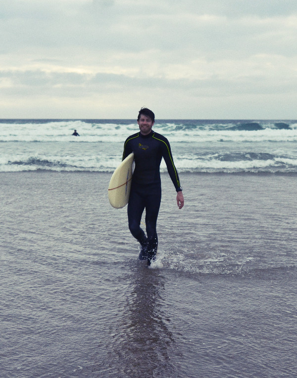 Surfing at Polzeath in Cornwall