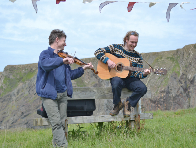 Folk singers practicing at Hartland Quay