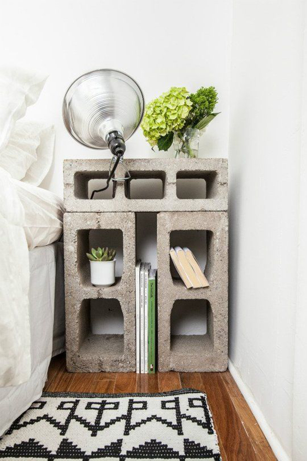 Cinder block bedside table