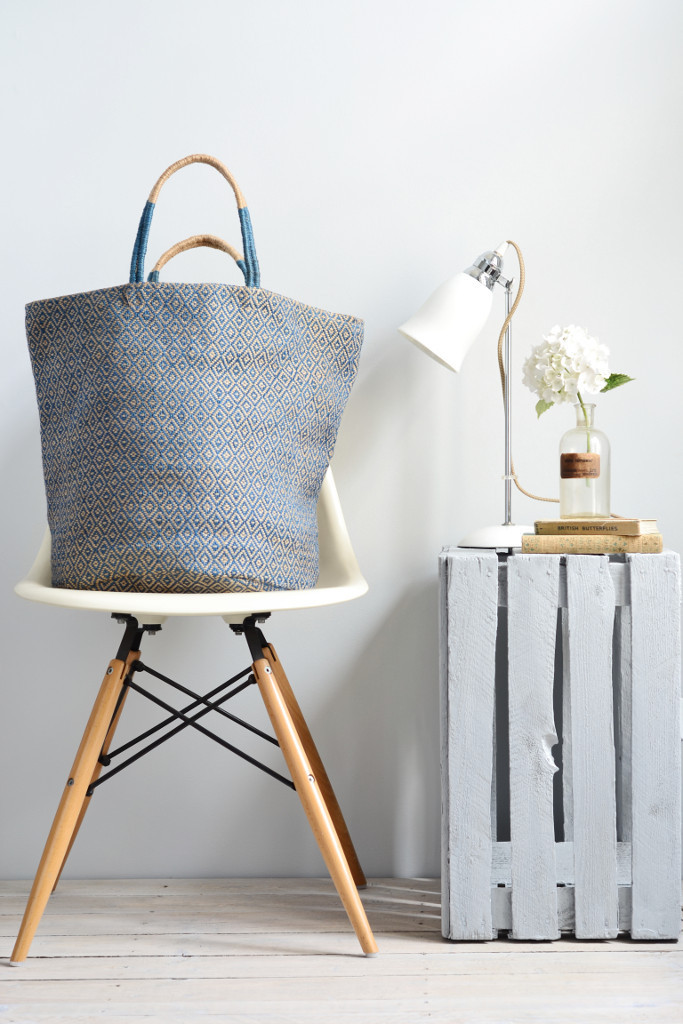 Decorator's Notebook Jute_shopping_bag_storage_baskets_blue_diamond_fairtrade