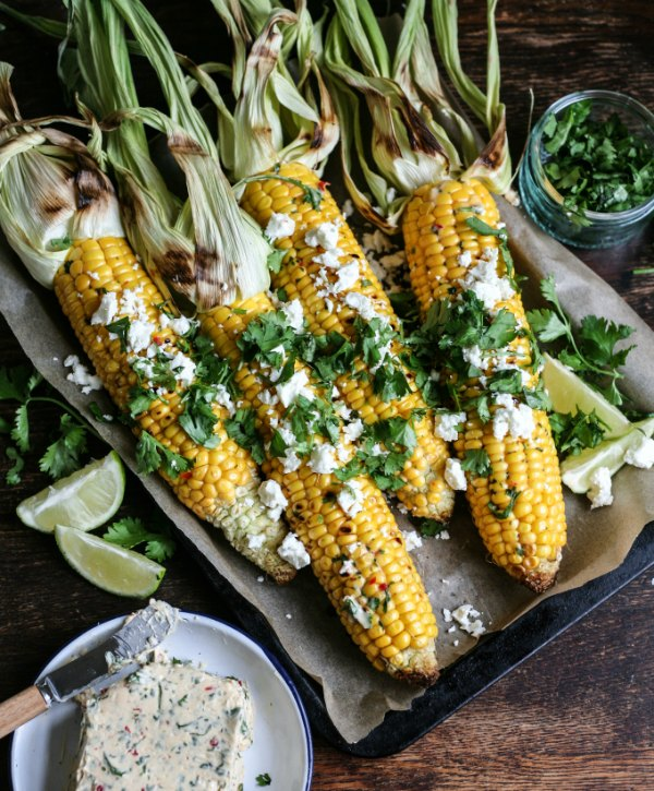 Bonfire night starter corn on the cob with chilli butter