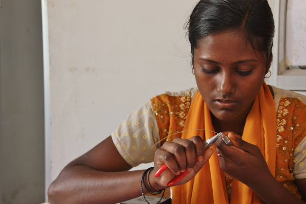 Fair trade project in India making brass jewellery for Decorator's Notebook