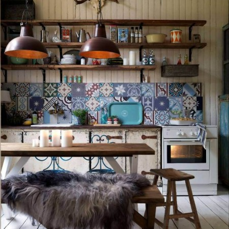 Kitchen with patterned moroccan tiles