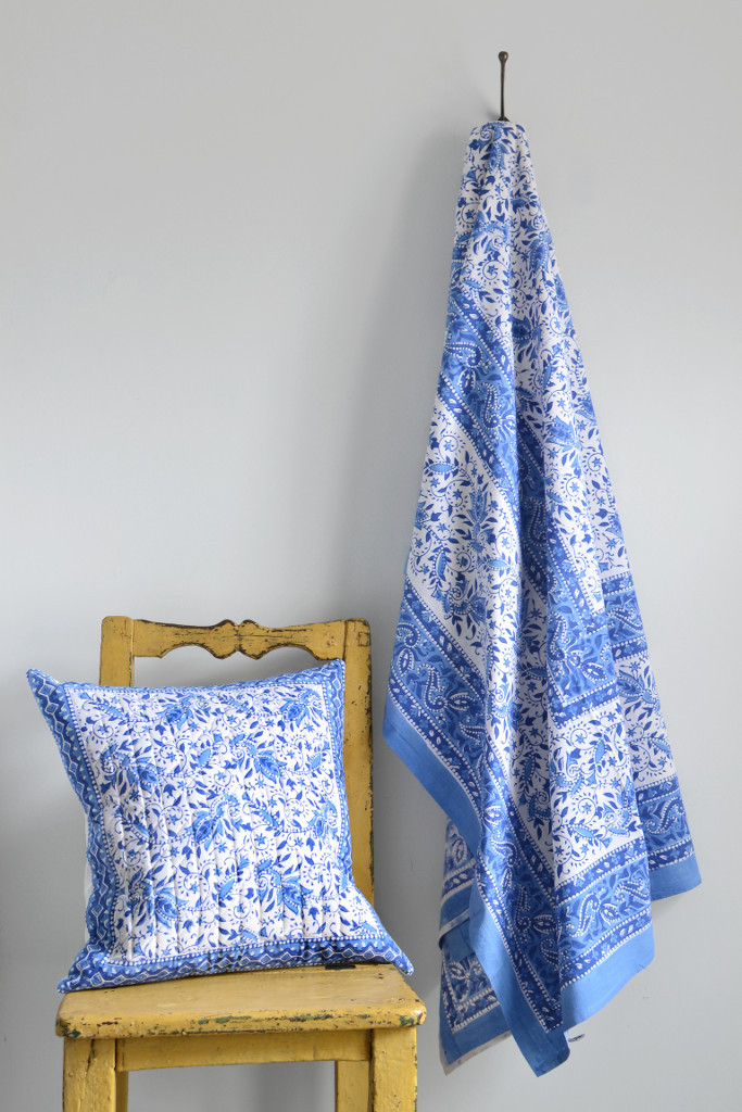 Indian block printed cushion and throw blue and white - Decorator's Notebook shop