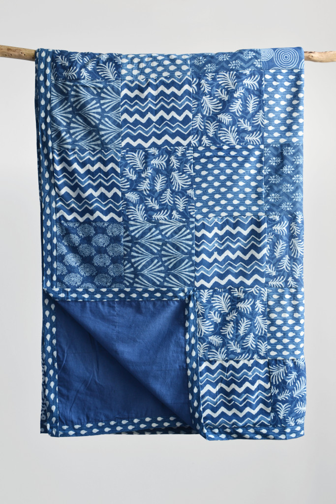 Indigo blue patchwork block printed Indian bedspread - Decorator's Notebook shop