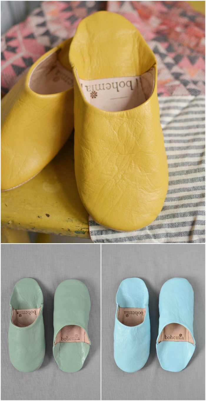 Ladies moroccan leather slippers yellow green blue - Decorator's Notebook Shop