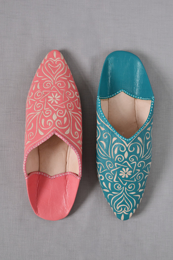 Ladies Moroccan leather slippers patterned - Decorator's Notebook Shop