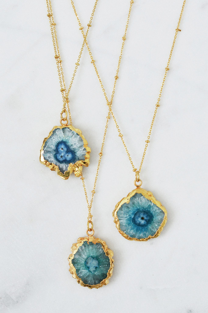 Blue agate solar quartz and gold necklace - Decorator's Notebook shop