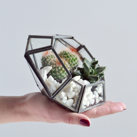 Glass_zinc_terrarium_planter_pointed_candle_holder_square_diamond_Decorator_s_Notebook