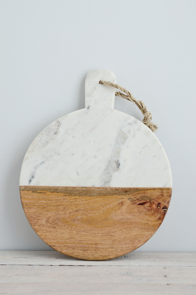 marble and mango wood serving board from Decorator's Notebook Shop