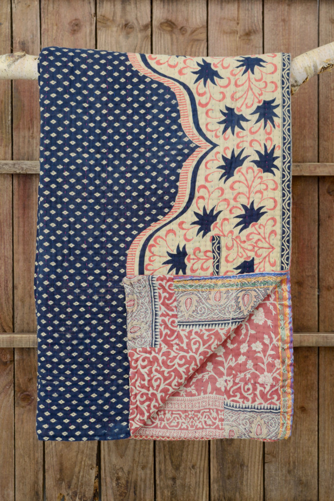 Kantha quilt vintage sari - Decorator's Notebook Shop