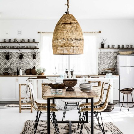 Moroccan home black and white kitchen